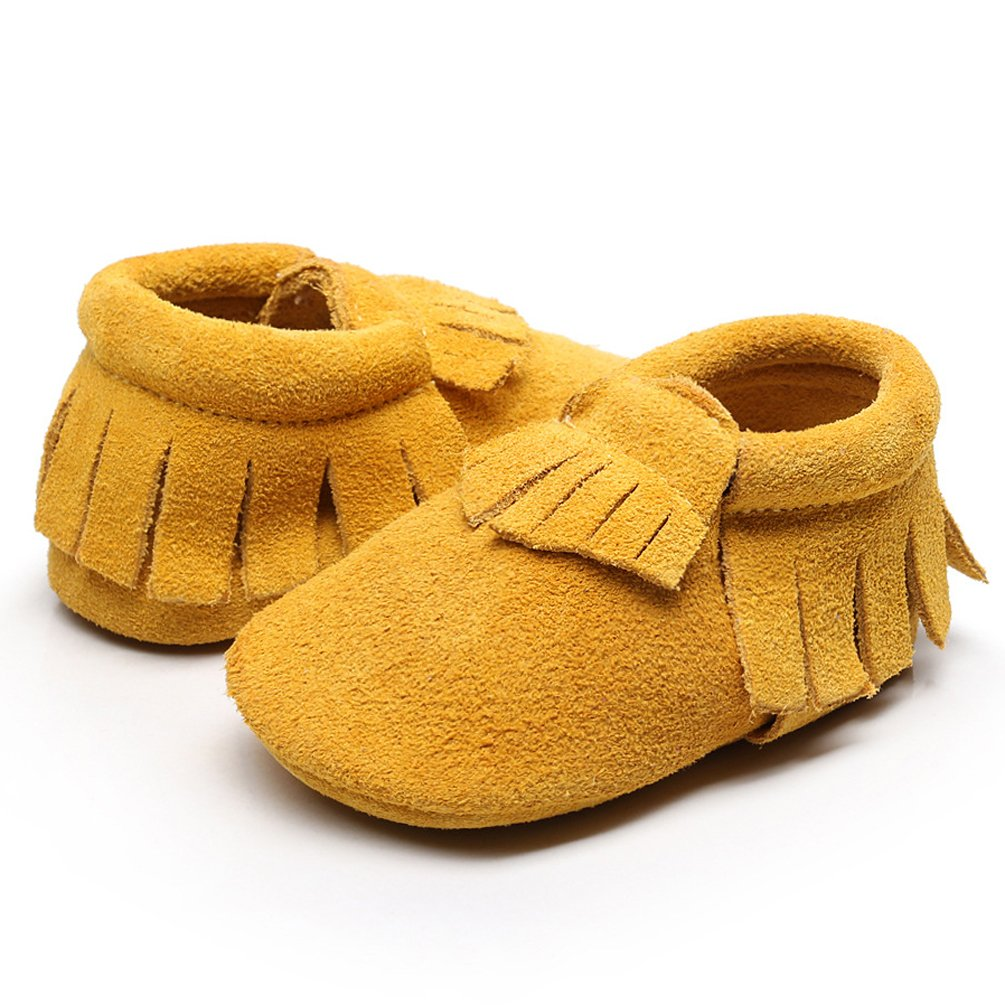 HONGTEYA Baby Tassel Shoes Soft Leather Sole - Girls Boys Grid Moccasins Crib Toddlers Suede Shoes (6-12 Months/US 5.5/4.92''/ See Size Chart, Suede Yellow)