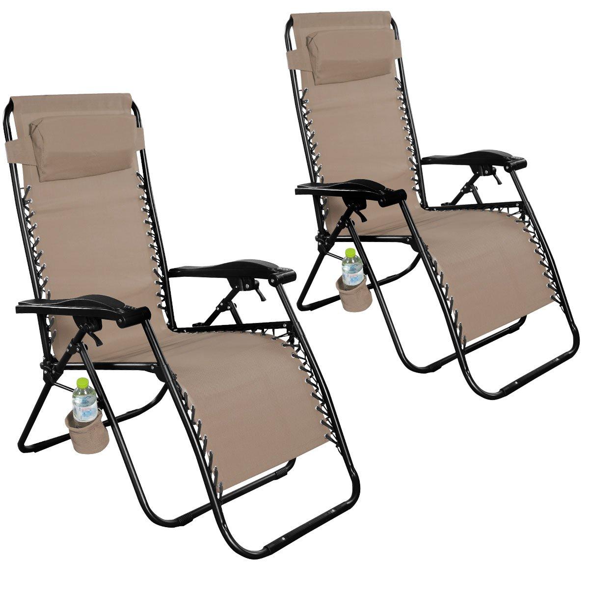 Giantex Folding Lounge Chairs Recliner Zero Gravity Outdoor Beach Patio Garden (2Tan)