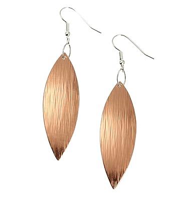 76f620a3b Amazon.com: Copper Bark Leaf Drop Earrings - Handmade Copper Earrings -  Jewelry Gifts for 7th Wedding Anniversary: Jewelry