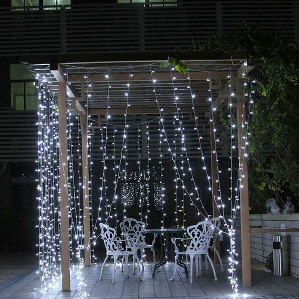 Cadena de luces LED de samLIKE, luz blanca cálida, 8 modos, cadena de luz, cortina, exterior, interior, luces decorativas para bodas, casas, fiestas, dormitorios: Amazon.es: Iluminación