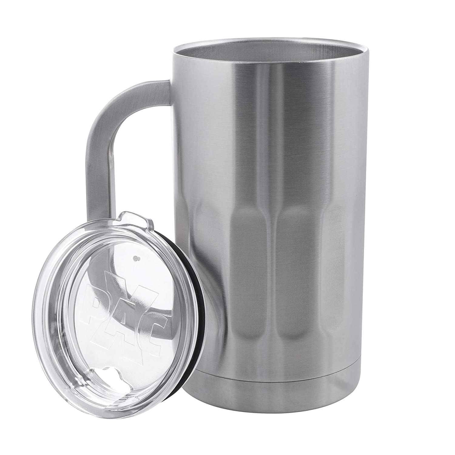 Shatterproof and Spill Resistant 20 Ounce Double Walled Vacuum Insulated Beer Mug by Maxam Stainless Steel Beer Mug with Lids