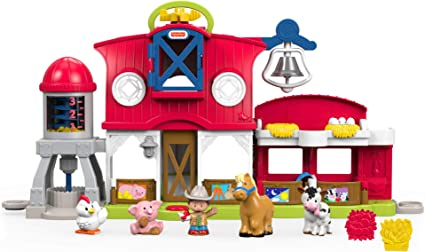 Fisher-Price Little People Granja cuida a los animalitos, juguetes bebés 1 año (Mattel FKD00)