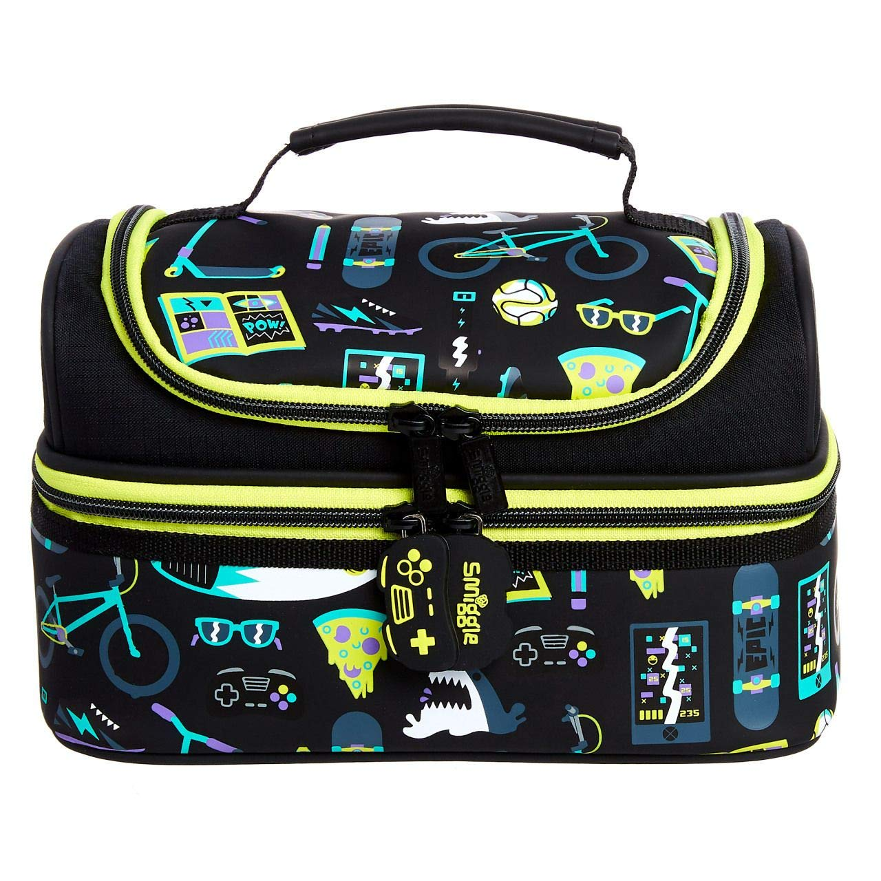 Smiggle Pop Double Decker School Lunchbox for Girls & Boys with Dual Black