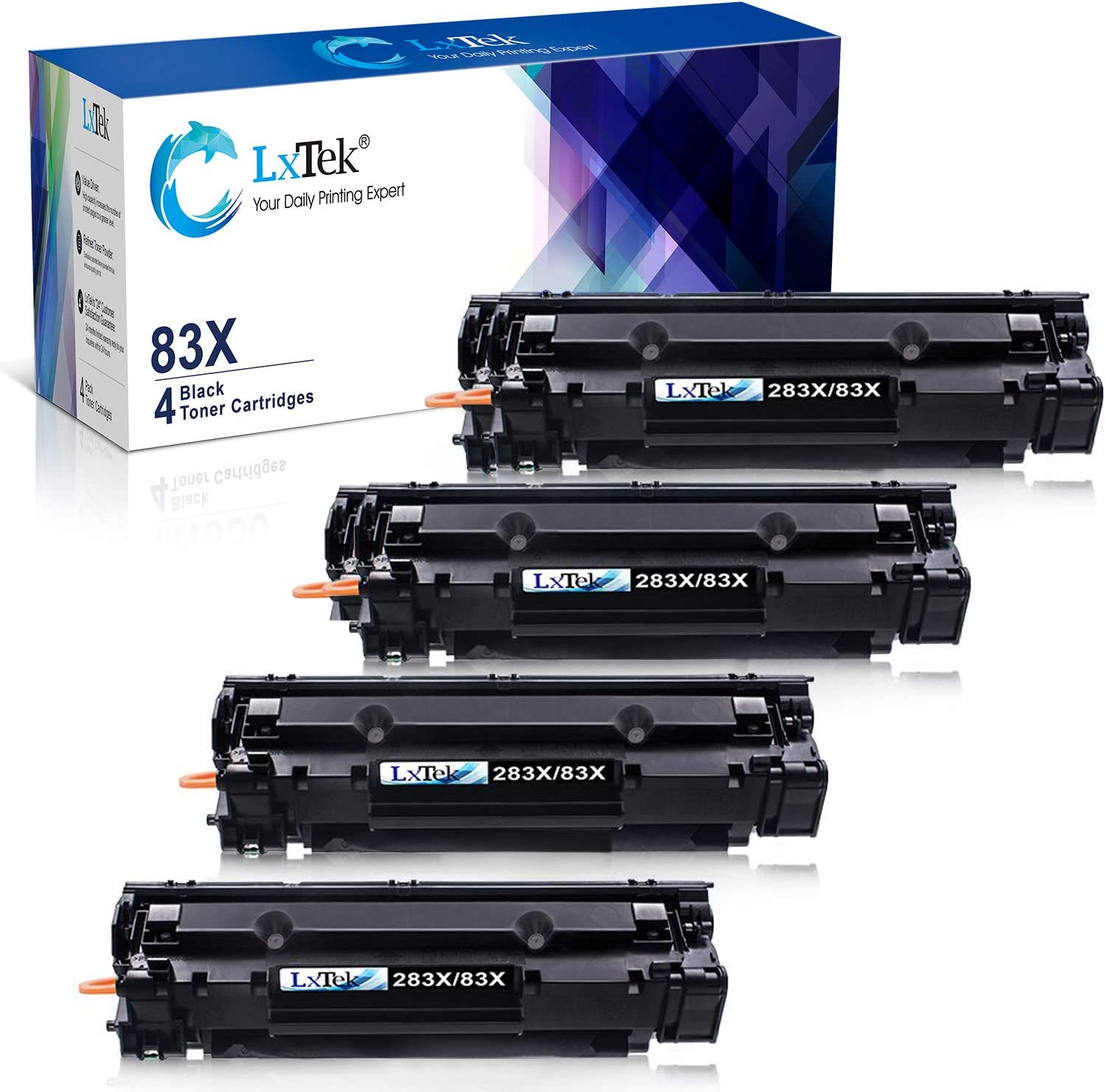 LxTek Compatible Toner Cartridge Replacement for HP 83X CF283X 83A CF283A to use with Laserjet Pro M201dw M201n M201 M125 M125nw M127fn M127fw M225dn M225dw Laser Printers (4-Black, High-Yield)