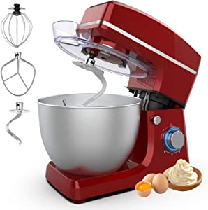 Stand Mixer, Sincalong 8.5QT 6 Speed Control Electric Stand Mixer with Stainless Steel Mixing Bowl and 3 Attachments, Food Mixer for Mix, Blend, Whip and Knead, Red