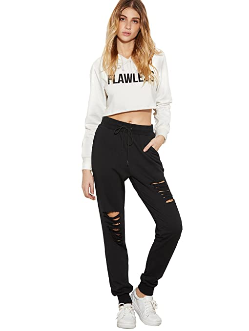 cf700ed31ad Amazon.com: SweatyRocks Women's Ripped Pants Drawstring Yoga Workout  Sweatpants Heather: Clothing