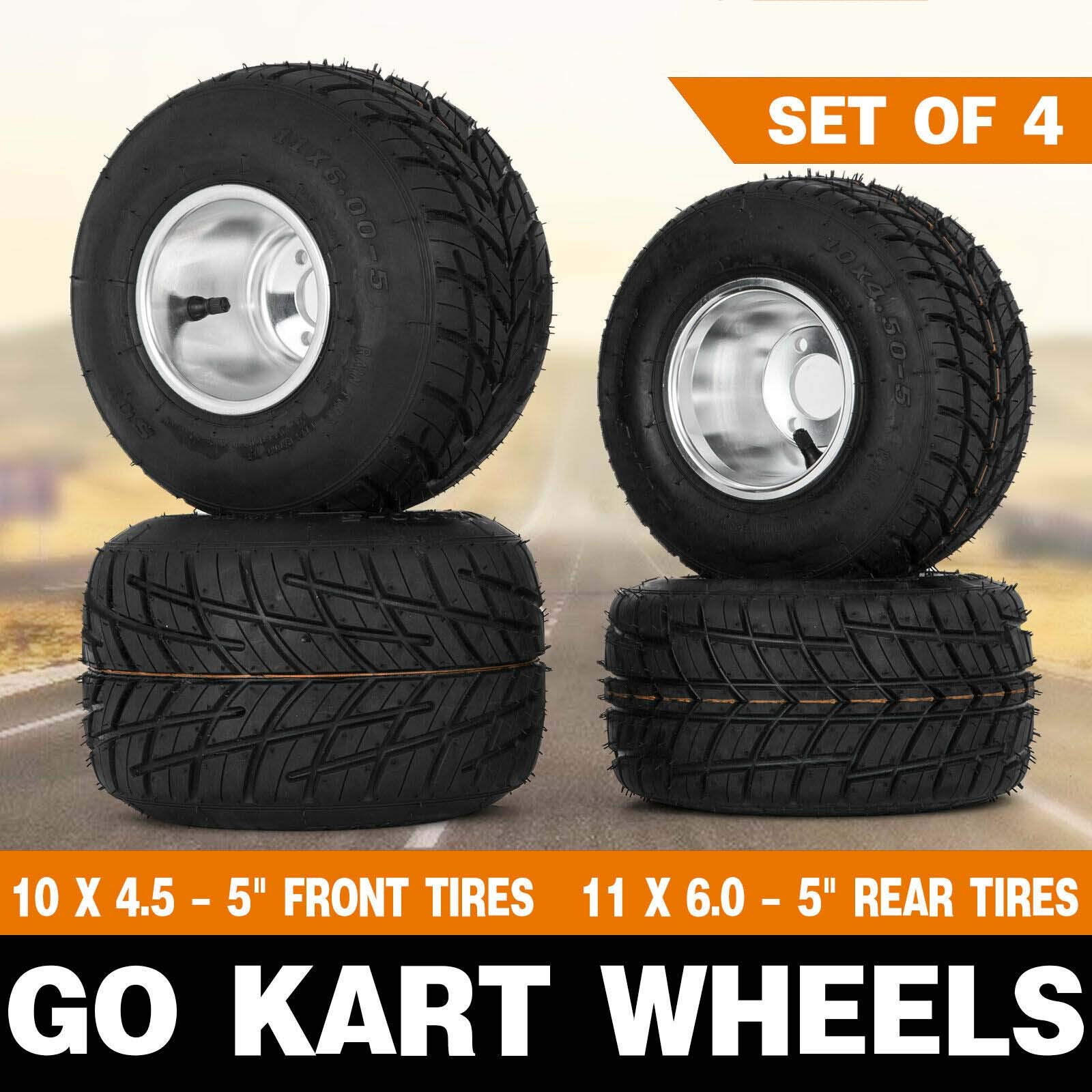 Snow Shop Everything Will fit on Most Go Kart/Huffy Slider/Drift Trike/Buggy/Project Go Kart Wheels Go Kart Rain Tires Set of 4 Rim & Tyre Durable 10X4.50-5 11x6.0-5