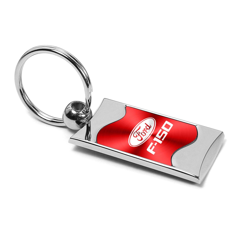 Ford F-150 Red Spun Brushed Metal Key Chain