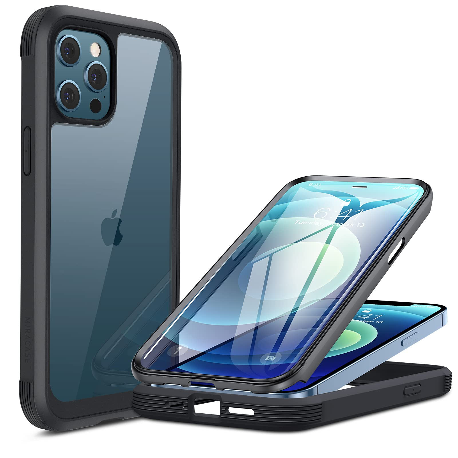 Miracase Glass Case Compatible with iPhone 12/12 Pro, Tempered Glass Screen Protector Full Body Rugged Armor Case Cover (Black)