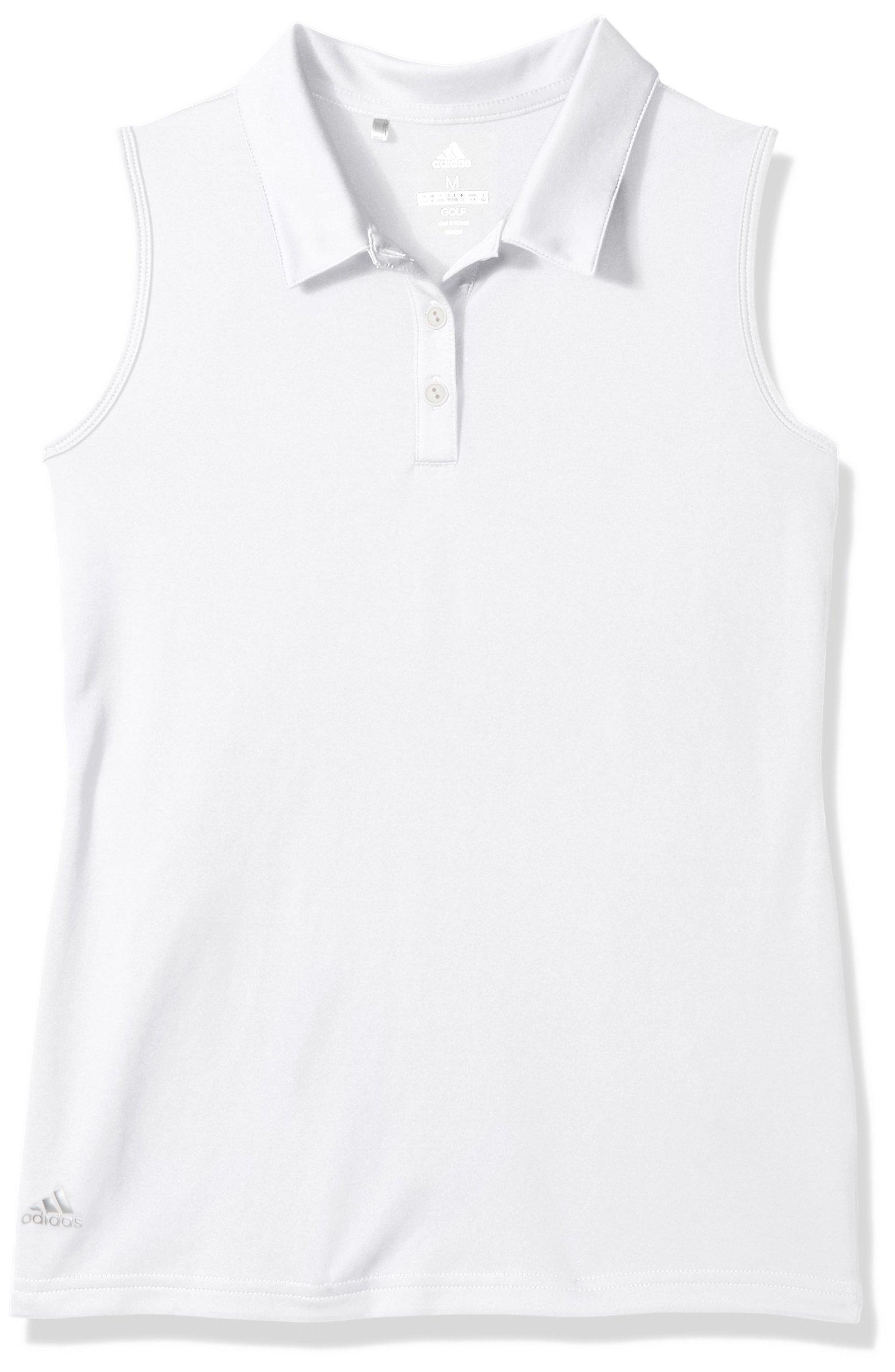 adidas Golf Tournament Sleeveless Polo, White, Small by adidas