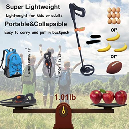 Amazon.com : AMYSPORTS Kids Metal Detector Lightweight Metal Finder with LCD Display Sensitive Waterproof Search Coil Outdoor Treasure Hunters Easy to ...