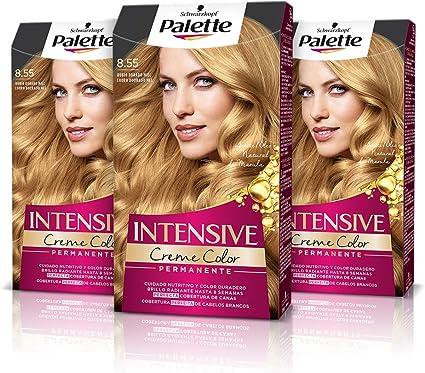 Schwarzkopf Palette Intensive Creme Color – Tono 8.55 cabello Rubio Dorado Miel (Pack de 3) - Coloración Permanente de Cuidado con Aceite de Marula, ...