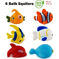 BEAU STUTI Chu Chu Colorful Floating Bath Toys for Baby Aquatic Fish Animals Set of 6 Non Toxic BPA Free