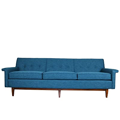 """Sunbeam Vintage Mid Century Gorgeous sleek lined 87"""" W x 31 1/2"""" L x 31"""" H seat height 19"""" Weight: 100lbs Modern or vintage style Turquoise color sofa"""