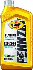 Pennzoil Platinum Full Synthetic Motor Oil5W-30, 1 Quart - Pack of 1