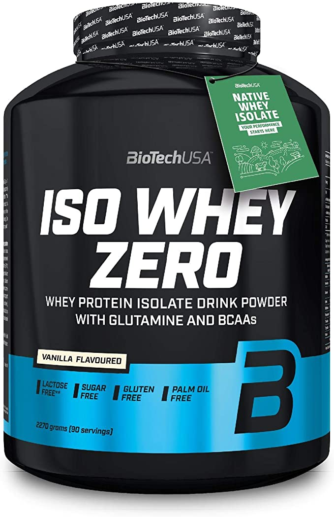 BioTechUSA Iso Whey ZERO, Lactose, Gluten, Sugar FREE, Whey Protein Isolate, 2.27 kg, Vainilla