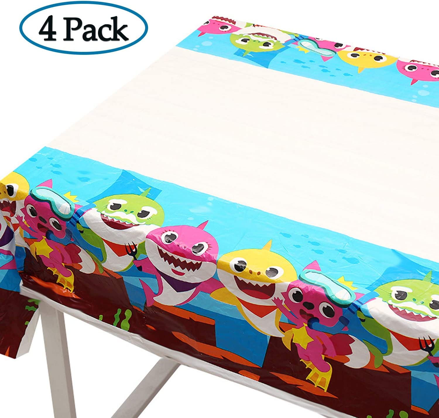 BAODAN 4 Pack Baby Shark Table Cloth, 70 x 42 Inch Table Covers for Baby Shower Birthday Party Decoration Supplies