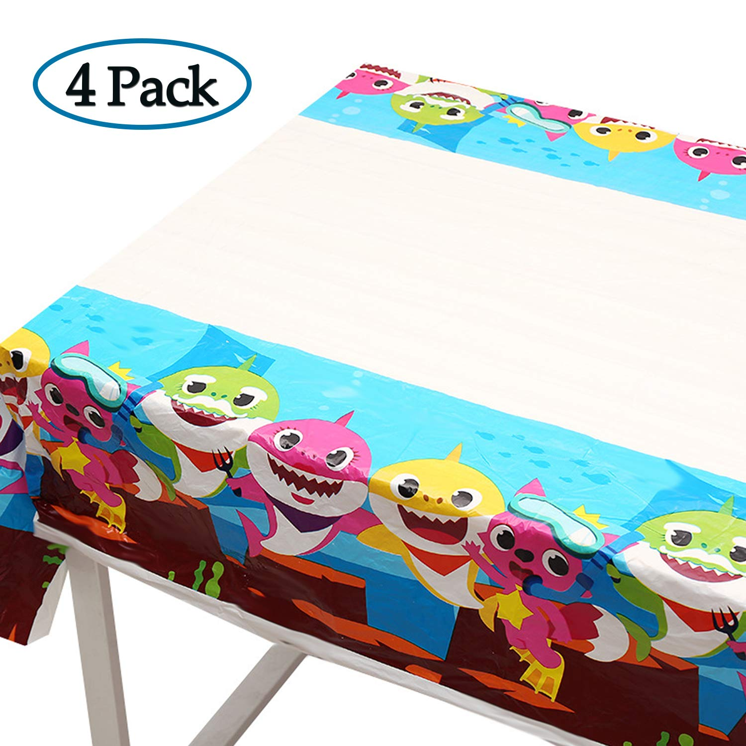 4 Pack Baby Shark Table Cloth, 70 x 42 Inch Table Covers for Baby Shower Birthday Party Decoration Supplies by BAODAN