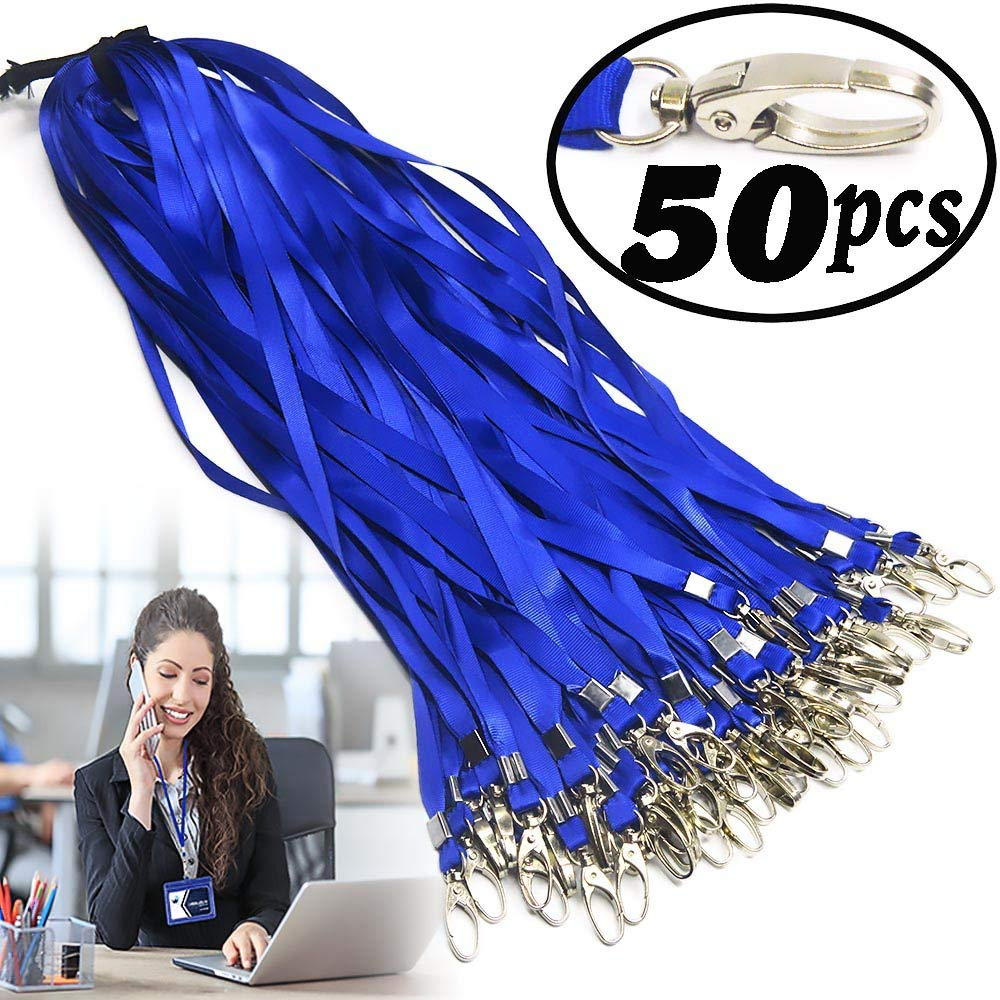 Blue Lanyard Bulk Clips Swivel Hooks Nylon Neck Flat Woven Blue Lanyards with Clip for Id Badges Key Chains,Lanyards 50 Pack 32-inch