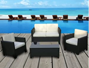 miami beach collection 4 pc outdoor rattan wicker sofa sectional patio furniture set black - Sectional Patio Furniture