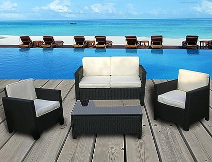 Bon Miami Beach Collection   4 Pc Outdoor Rattan Wicker Sofa Sectional Patio  Furniture Set (Black