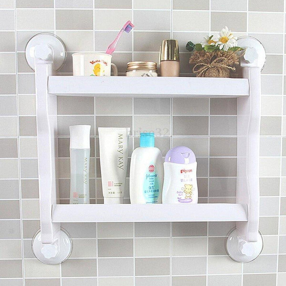 NEW Plastic Bathroom Shelf With Suction Rack Organizer Shower Storage Cup
