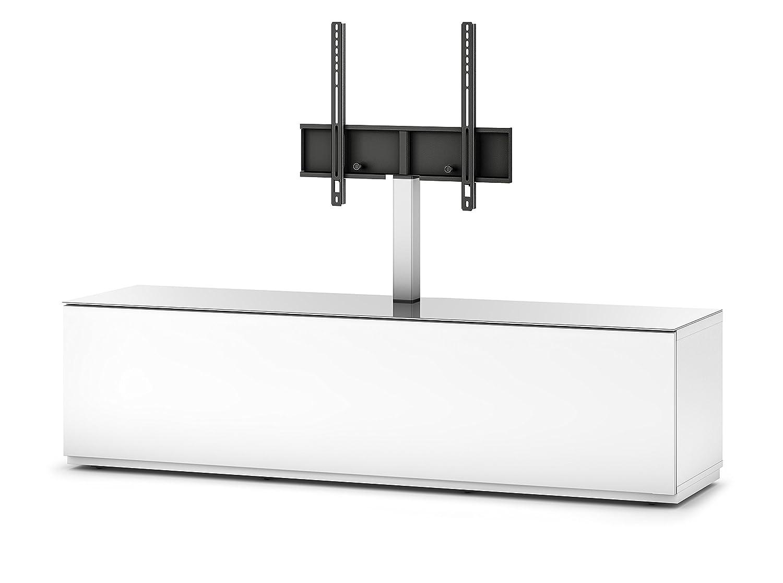 Sonorous STA 161F-WHT-WHT-BW hängende TV-Lowboard mit TV-Aufhängung, Sockel, weißer Korpus, obere Fläche, gehärtetem Weißglas und Klapptür