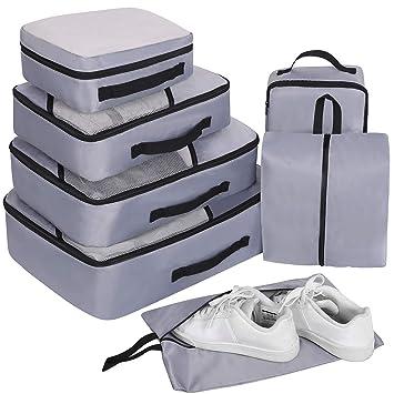 Organizador de Viaje Organizadores para Maletas, 7 Set Bolsas de Equipaje, Impermeable Organizador de Maleta Bolsa para Ropa Zapato Sucia de Viaje: ...