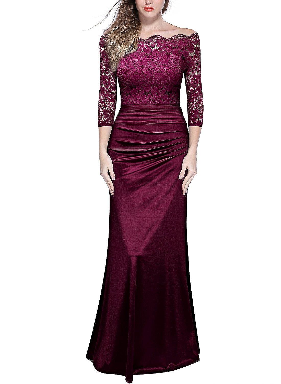 Bridesmaid dresses amazon womens retro off shouler floral lace ruched bridesmaid maxi dress ombrellifo Gallery