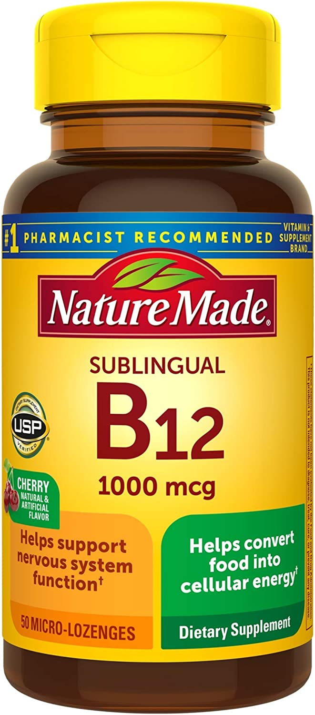 Nature Made Sublingual Vitamin B12 1000 mcg Micro-Lozenges, 50 Count