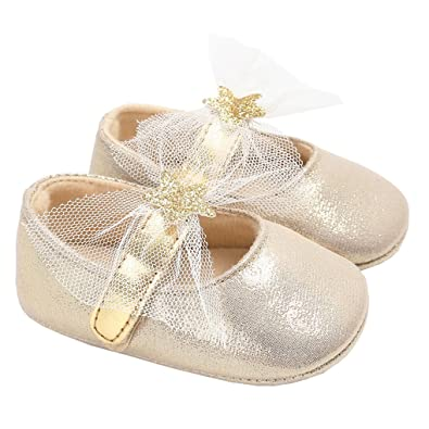 5b140c74d875 Baby Girls Sparkly Stars Mary Jane with Lace Bowknot Wedding Princess Dress Shoe  Golden Size S