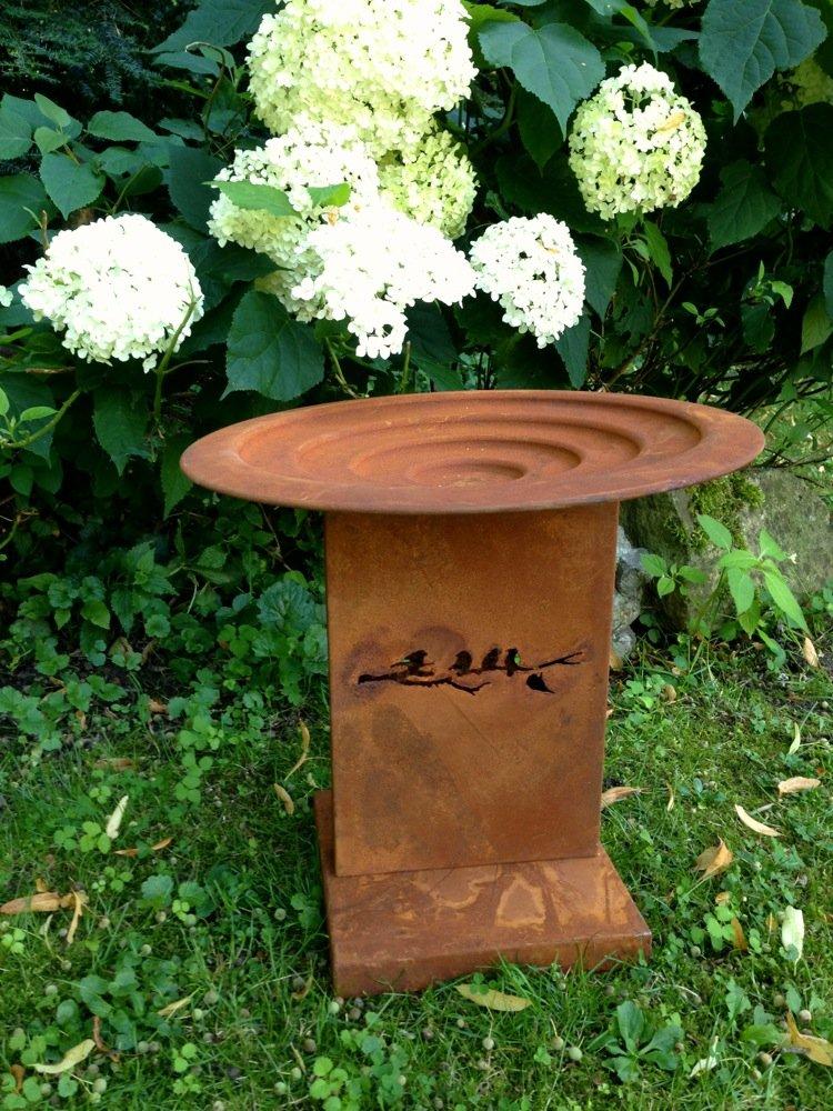 Antikas - Vogeltränke in Rost-Optik, Tränke und Futterschale für ...