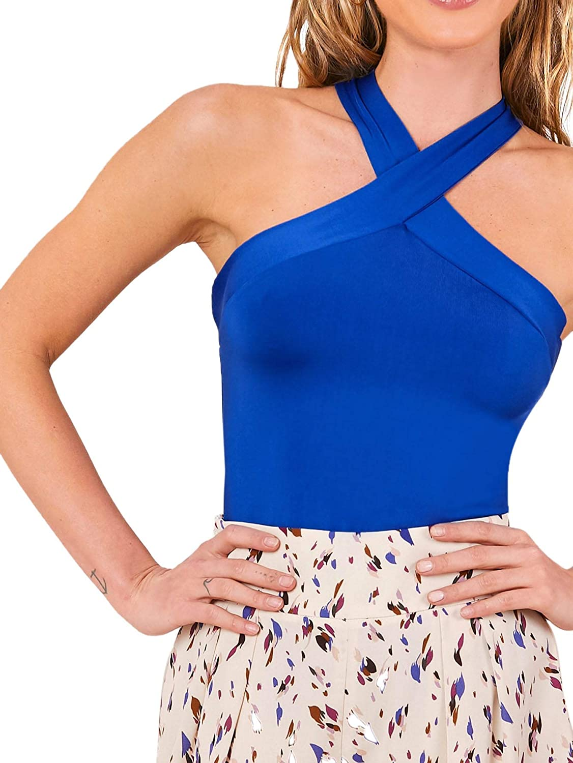 Floerns Womens Plus Size Solid Criss Cross Halter Top