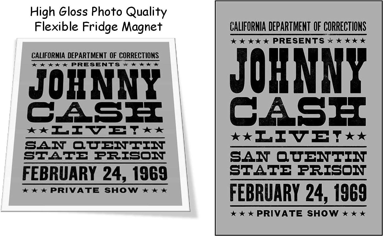 "Johnny Cash San Quentin 1969 Concert Poster 3""x4"" Flexible Fridge Magnet, High Gloss Photo Finish"