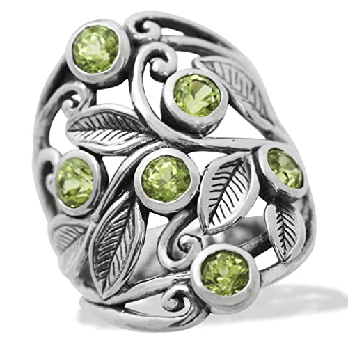 Silvershake 1.8ct. Natural Peridot 925 Sterling Silver Filigree Leaf Ring