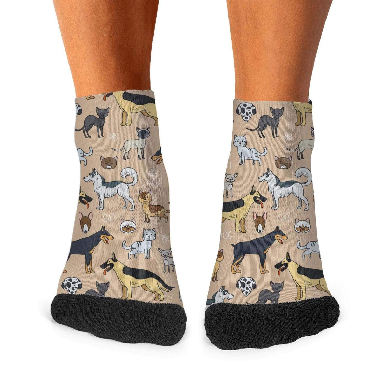 Mens athletic low cut Ankle sock cute dogs icons and objects Short Outdoor Sock