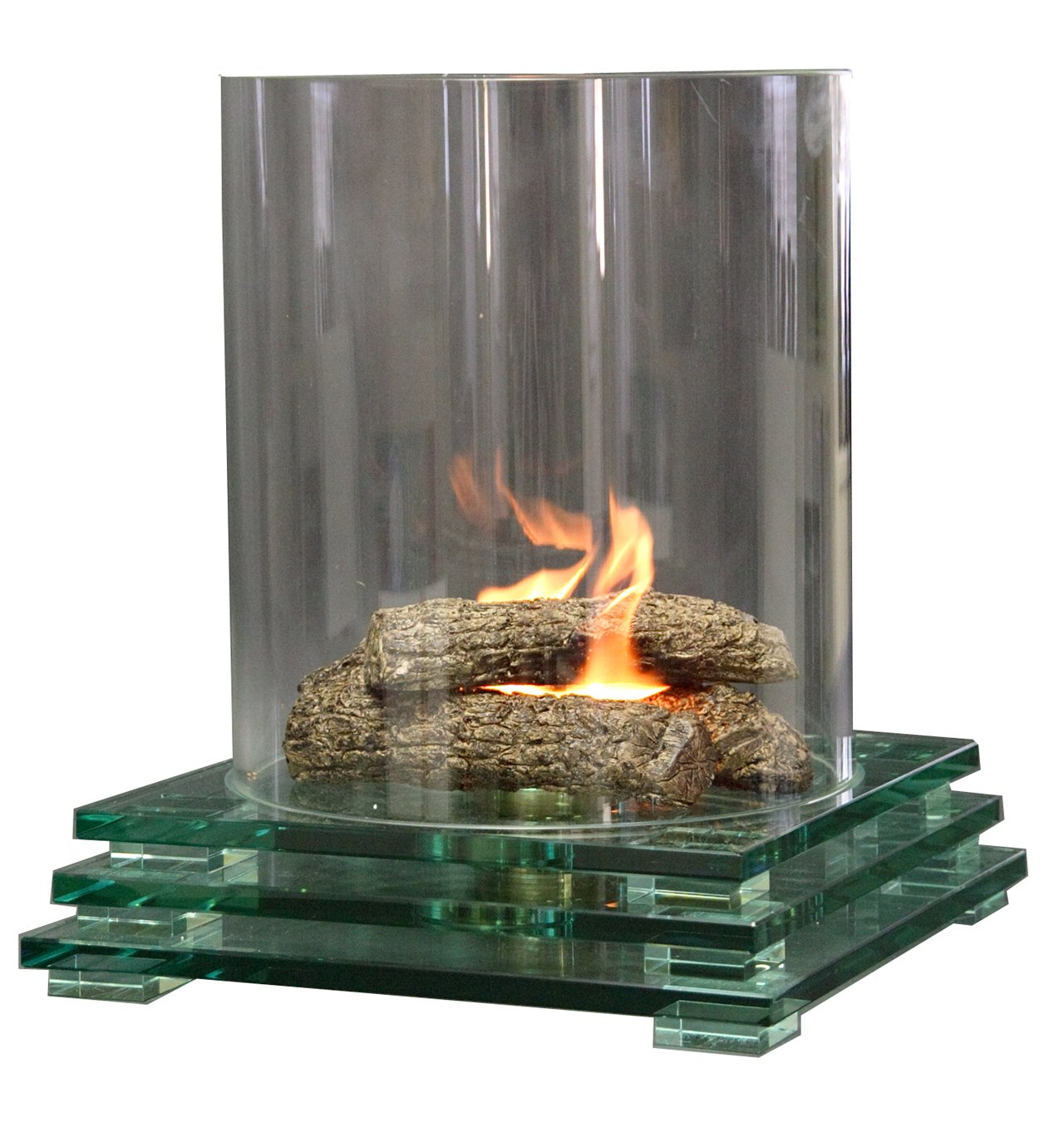 contemporary glass fire pit indoor or outdoor fireplace amazon co