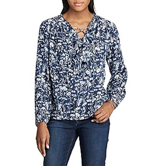 Amazon.com: Chaps Mujer Azul floral mezcla de algodón manga ...