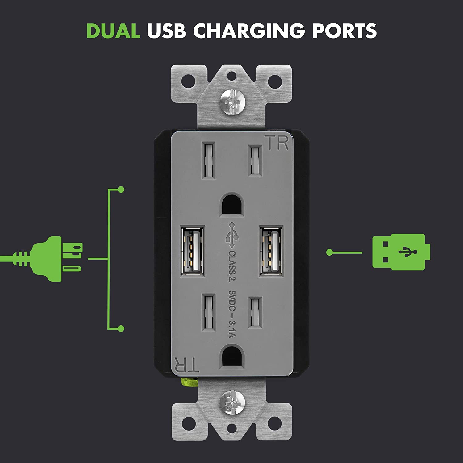 TU2153A-GY-2PCS 2 Pack 15A Tamper-Resistant Receptacles HTC LG Compatible with iPhone XS//MAX//XR//X//8 Gray TOPGREENER 3.1A USB Wall Outlet Charger Samsung Galaxy S10//S9//S8