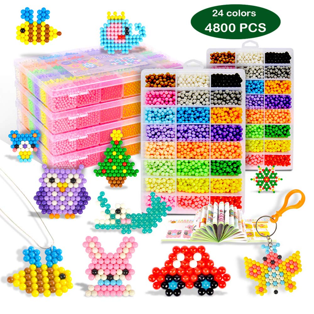 aqua water beads Refills Compatible with Aquabeads and Beados fuse beads Art Crafts Toys for kids non toxic bead palette, layout table, pen, bead peeler, sprayer, template sheets -24colors(4800pcs)