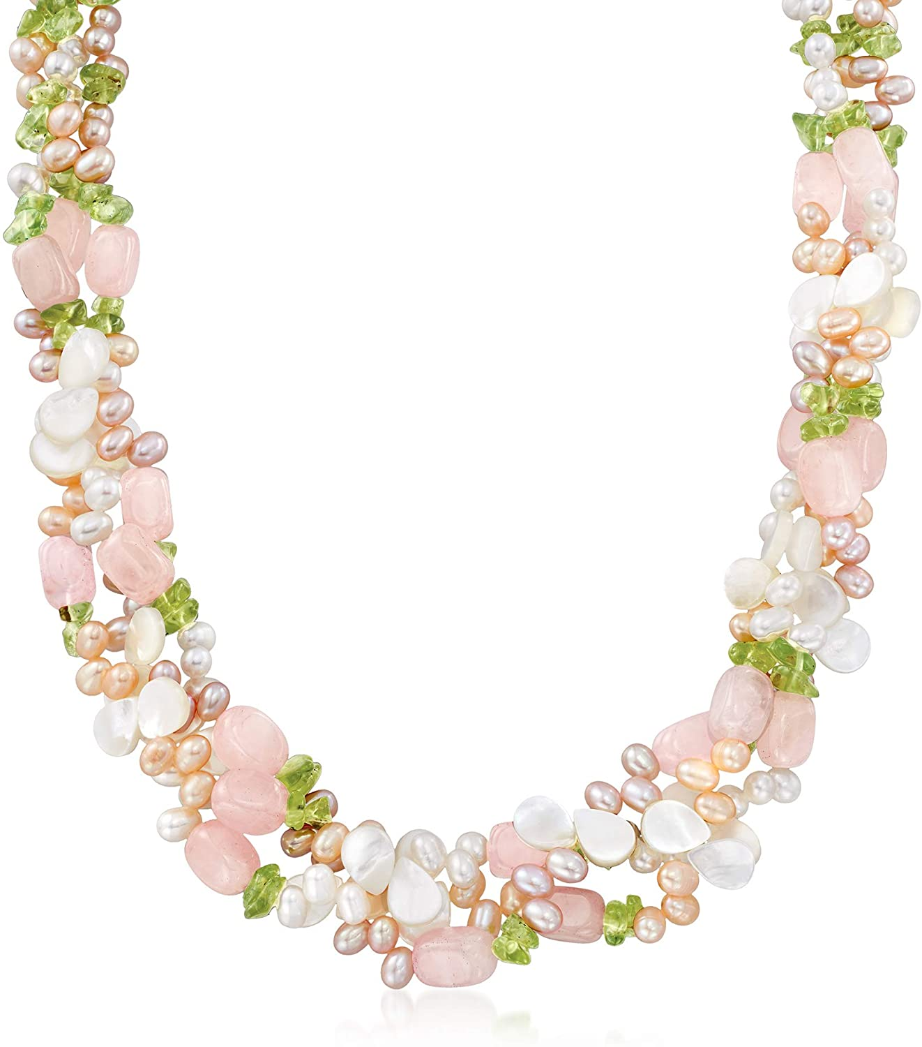 Ross-Simons 4-5mm Multicolored Cultured Pearl and Multi-Stone Torsade Necklace With Sterling Silver. 19 inches