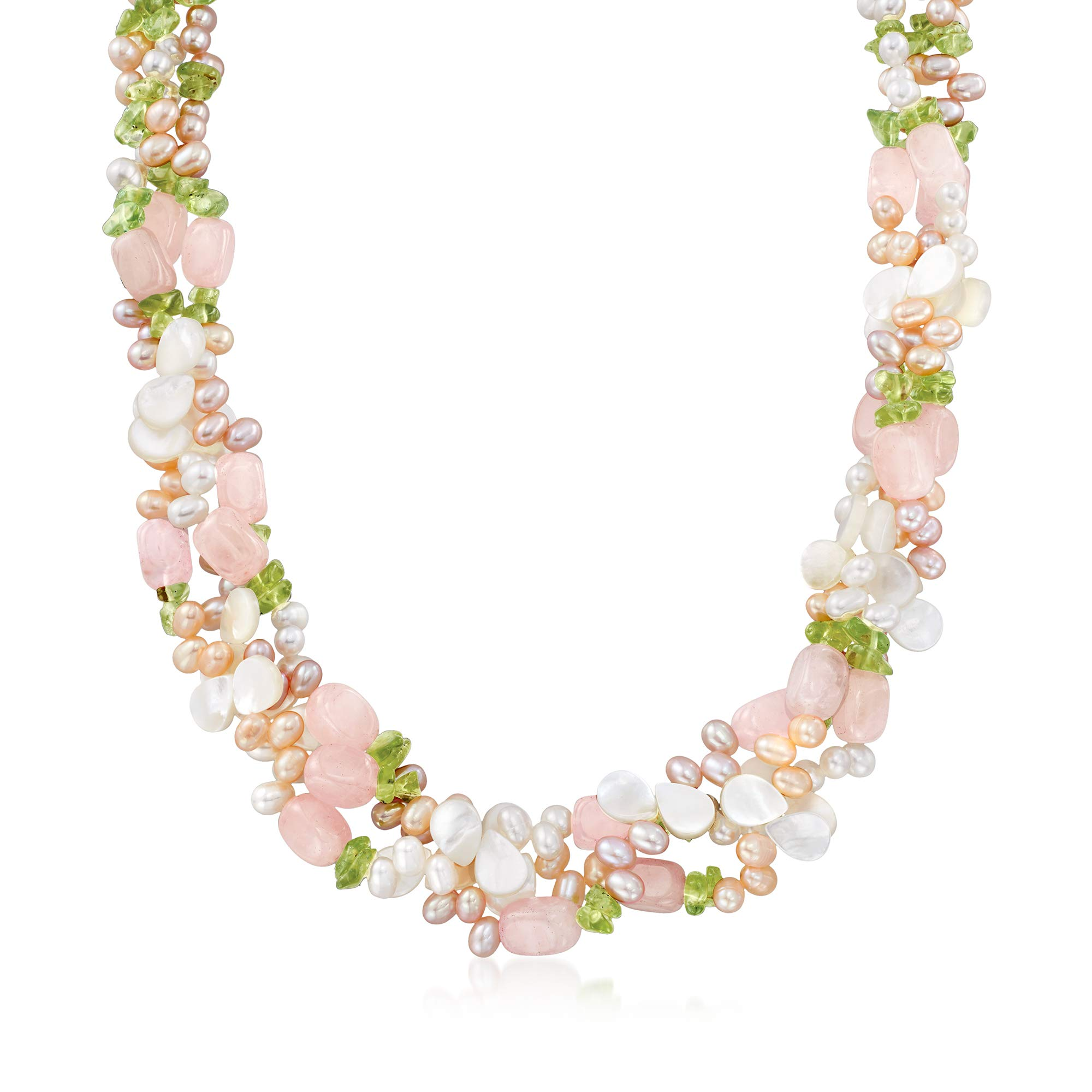Ross-Simons 4-5mm Multicolored Cultured Pearl and Multi-Gemstone Torsade Necklace With Sterling Silver by Ross-Simons