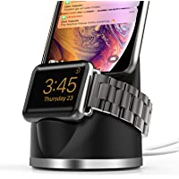 Olebr 2-in-1 Charging Dock Stand with Holder for Apple Watch Series 4/3/2/1 & iPhone (Black)