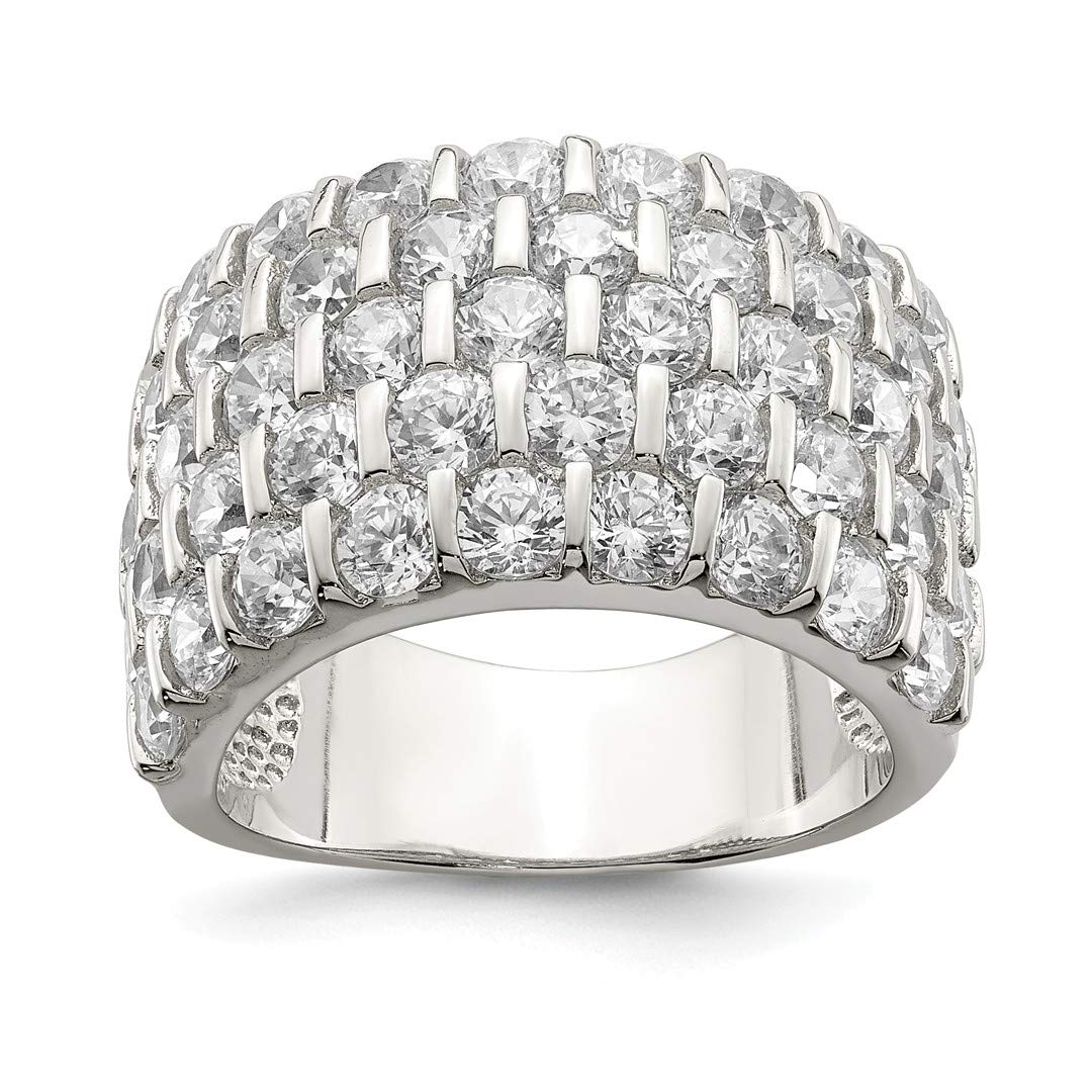 ICE CARATS 925 Sterling Silver Cubic Zirconia Cz Wide Wedding Ring Band Size 8.00 Fine Jewelry Ideal Gifts For Women Gift Set From Heart by ICE CARATS (Image #1)