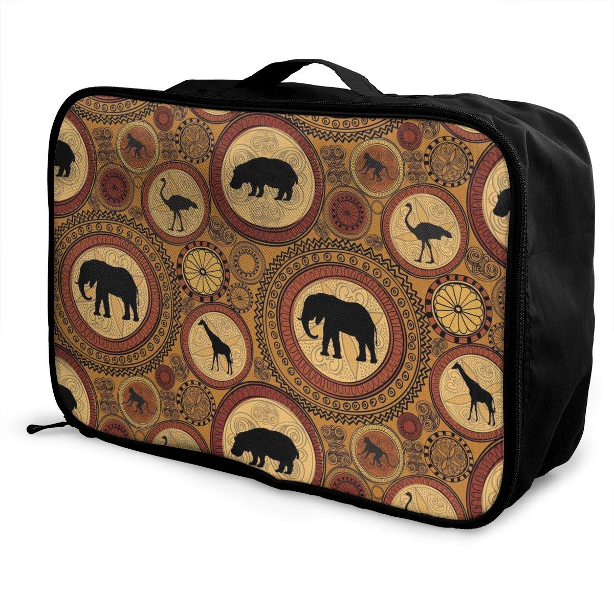 ADGAI African Ethnic Animals Elephant Canvas Travel Weekender Bag,Fashion Custom Lightweight Large Capacity Portable Luggage Bag,Suitcase Trolley Bag