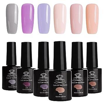 Amazon.com : Makartt One Step Gel Nail Polish Kit Modern Fresh Girl Color Series No Need Base and Top Coat Fast Curing 6 PCS Soak off Nail Gels P-05 : ...