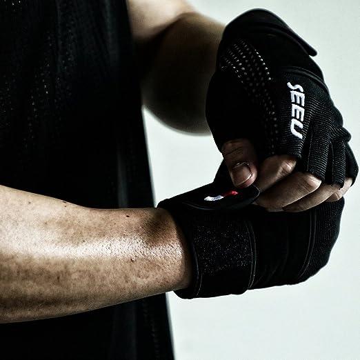 Guantes de levantamiento de peso para hombre y mujer con muñeca de 17,5 pulgadas. Para WOD, entrenamiento en gimnasio, entrenamiento Cross 5 colores, ...