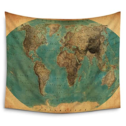 Amazon mugod world map tapestry home decor by old fashioned map mugod world map tapestry home decor by old fashioned map wall tapestry hanging polyester gumiabroncs Images