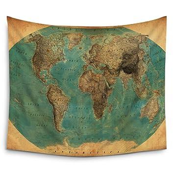 Amazon mugod old fashioned world map wall tapestry hanging mugod old fashioned world map wall tapestry hanging polyester fabric wall art tapestries home gumiabroncs Images