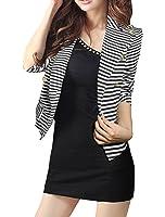 Allegra K Women Long Sleeve Cropped Striped Casual Blazer Fall Jacket